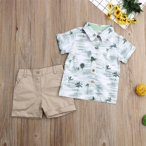 Toddler Baby Boys Summer Clothes T-shirt Tops Set