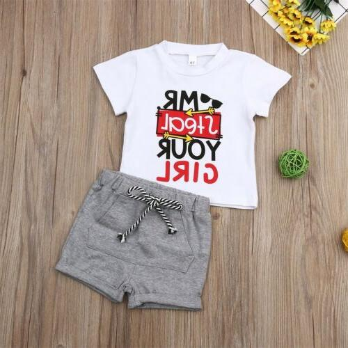 US Toddler Baby Boy Outfits Short Set