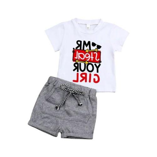 US Kids Baby Boy Girl Outfits Short Sleeve Clothes Set