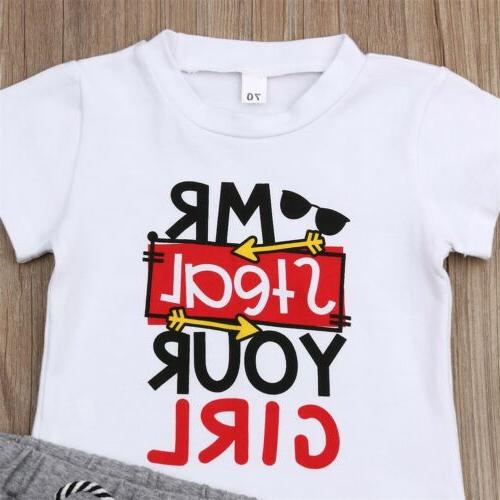 US Toddler Kids Baby Boy Girl Outfits Short Sleeve Clothes Set