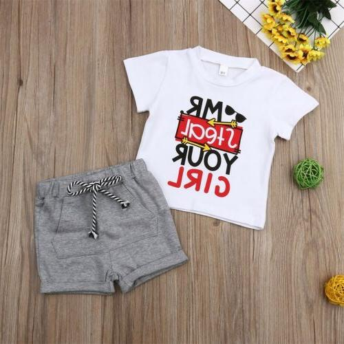 US Toddler Kids Baby Boy Girl Outfits Short Sleeve T-Shirt T