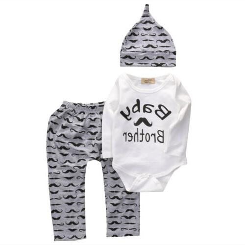 3PC Newborn Baby Romper Long Pants Outfits Clothes