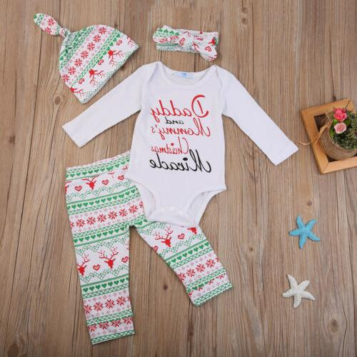 USA Newborn Baby Boys Girls Clothes Romper Bodysuit+Pants Outfit Hat