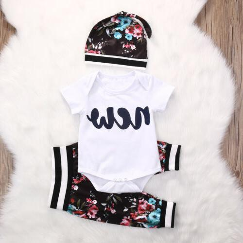 Boys Girls Clothes Romper Bodysuit+Pants Outfit Hat Set