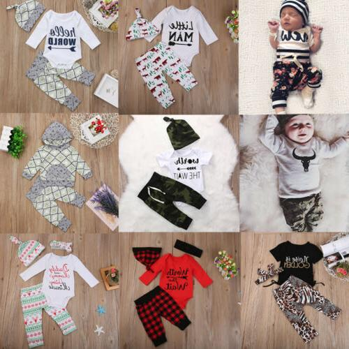 USA Newborn Boys Clothes Romper Bodysuit+Pants