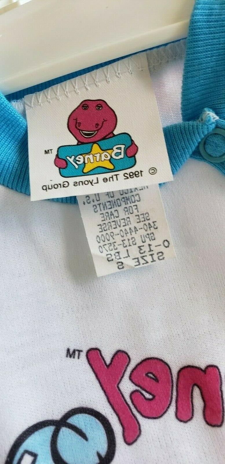 Vintage 1992 New Barney Children's Pajamas Clothing Piece Outfit S LOOK