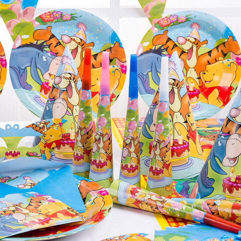 Winnie Pooh Party Horn Cup Straw Napkins