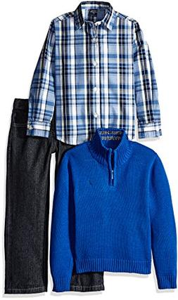 Nautica Little Boys' Toddler Three Piece Set with Woven Shir