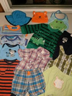 LOT OF 13 PIECES OF BABY BOY CLOTHING & ACCESSORIES