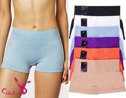 Lot of 6ps Women Seamless Boy Shorts Extended Hipster Pantie
