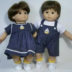 MATCHING SailBoat Dress Overall Doll Clothes For Bitty Baby