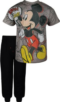 Disney Mickey Mouse Boys' Mesh T-Shirt & French Terry Pants