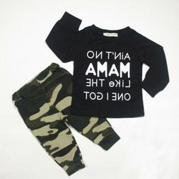 Newborn Baby Boys 2PCS Clothes Long Sleeve Top And Camouflag