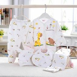 5PCS/Set Newborn Infant Baby Boy Girl Clothes Suits Shirts+P