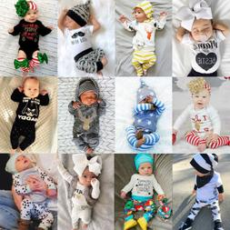 Newborn Kid Baby Boys Girls Top Rompers+Long Pants Outfit Co