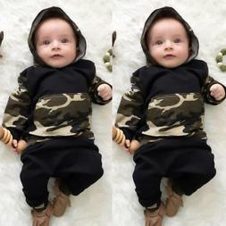2Pcs Toddler Infant Baby Boy Clothes Set Camouflage Hooded T