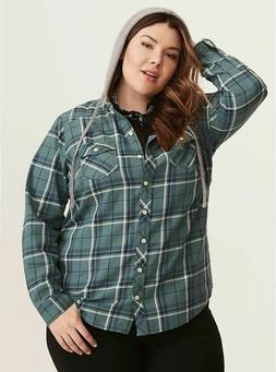 NWT TORRID   Cotton Plaid Hooded Camp Jacket Hoodie Shirt To