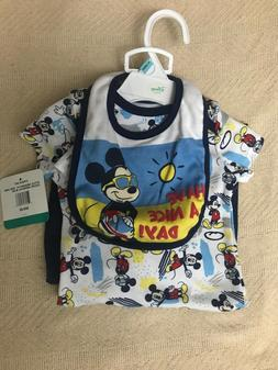 NWT Disney Baby Boys Clothes 3 Piece Set 6-9 Months Mickey M