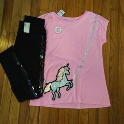 NWT Justice Girls Outfit Unicorn Top/Flip Sequin Leggings Si