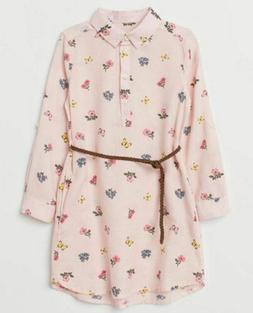 NWT H&M girls size 7-8 trendy pink flower belted shirt dress