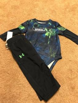 NWT Infant Boys Under Armour 2 piece set -Bodysuit and Pants