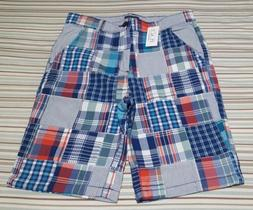 NWT The Children's Place Boys Patched Plaid Woven Chino Shor