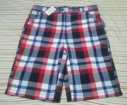 NWT The Children's Place Boys Plaid Woven Shorts Red/White/B