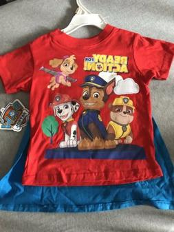 NWT Toddler Boys Nickelodeon Paw Patrol T Shirt And Cape 2T