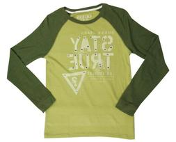 Guess Olive Graphic Thermal Raglan Shirt Top Big Boys Large