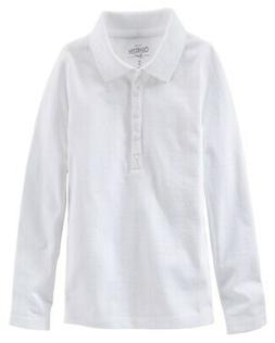 OshKosh B'gosh Little Boys' White Long Sleeve Pique Polo - 7