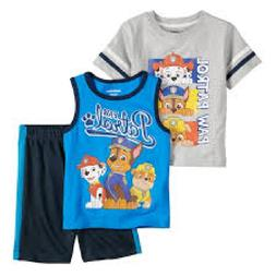Paw Patrol 3 Piece PJ Clothes Set Baby Boy T-Shirt, Tank & S