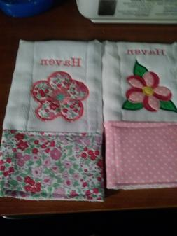 Personalized baby embroidered burp cloths set of 2 flowers