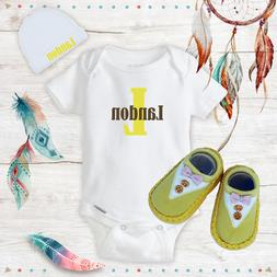 Personalized Name Cute Baby Boy Clothes Onesies Hat / Beanie
