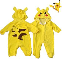 Pikachu Baby Newborn Hoodies Romper Jumpsuit Playsuit Boys G