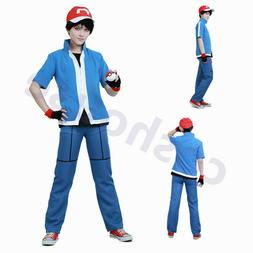 Pokemon Ash Red Kids Boys Cosplay Party Children Clothing