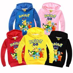 Pokemon Kids Boys Girls Long Sleeve Hoodie Pullover Sweatshi