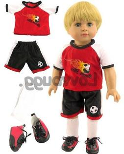 Red Flame Soccer Uniform w SHOES for American Girl Boy Doll
