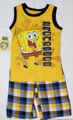 Size 7 Kids Spongebob 2PC Clothing Set Yellow Sleeveless Shi
