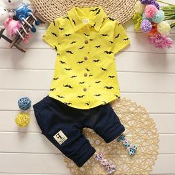 Summer Toddler Baby Kids Clothes Boys Outfits Sets Short Shi