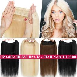 THICK 100% Remy Human Hair Hidden Crown Halos Invisible Wire