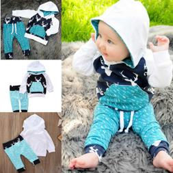 Toddler Baby Boys Hoodie Tops Pants Home Outfits Set Clothes