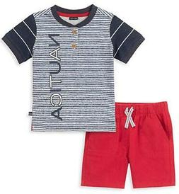 Nautica Toddler Boys Striped Henly 2pc Short Set Size 2T 3T