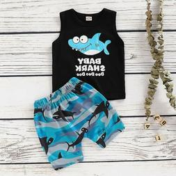 Toddler Kid Baby Boys Shark Summer Vest T Shirt Top Shorts P