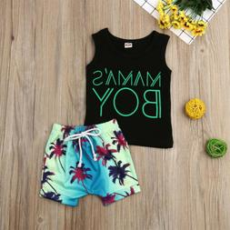 Toddler Kids Baby Boy Summer Vest T-Shirt Top Beach Shorts P