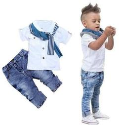 Toddler Kids Baby Boys Clothes Tops T-shirt+Denim Jeans Pant