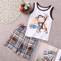 Toddler Kids Baby Boys Summer Outfits T-shirt Tank Tops+Pant