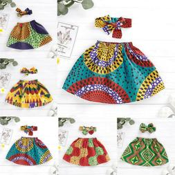 Toddler Kids Baby Girls African Skirt Headband Dashiki Print