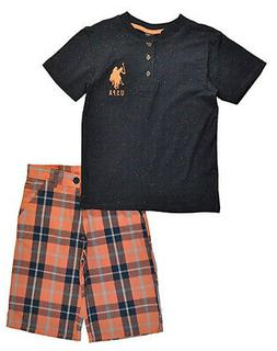 US Polo Assn Toddler/Little Boys Speckled Top & Short Set Si