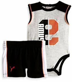 PUMA  Childrens Apparel Baby BoysMuscle Creeper Short Set- P