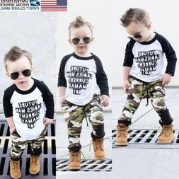 US 2PC Baby Boy Clothes Outfit Infant Kid Camouflage T-Shirt